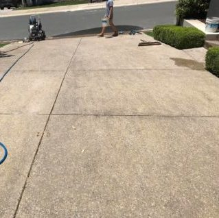 before cleaning a domestic driveway