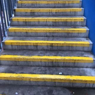 concrete steps before being cleaned